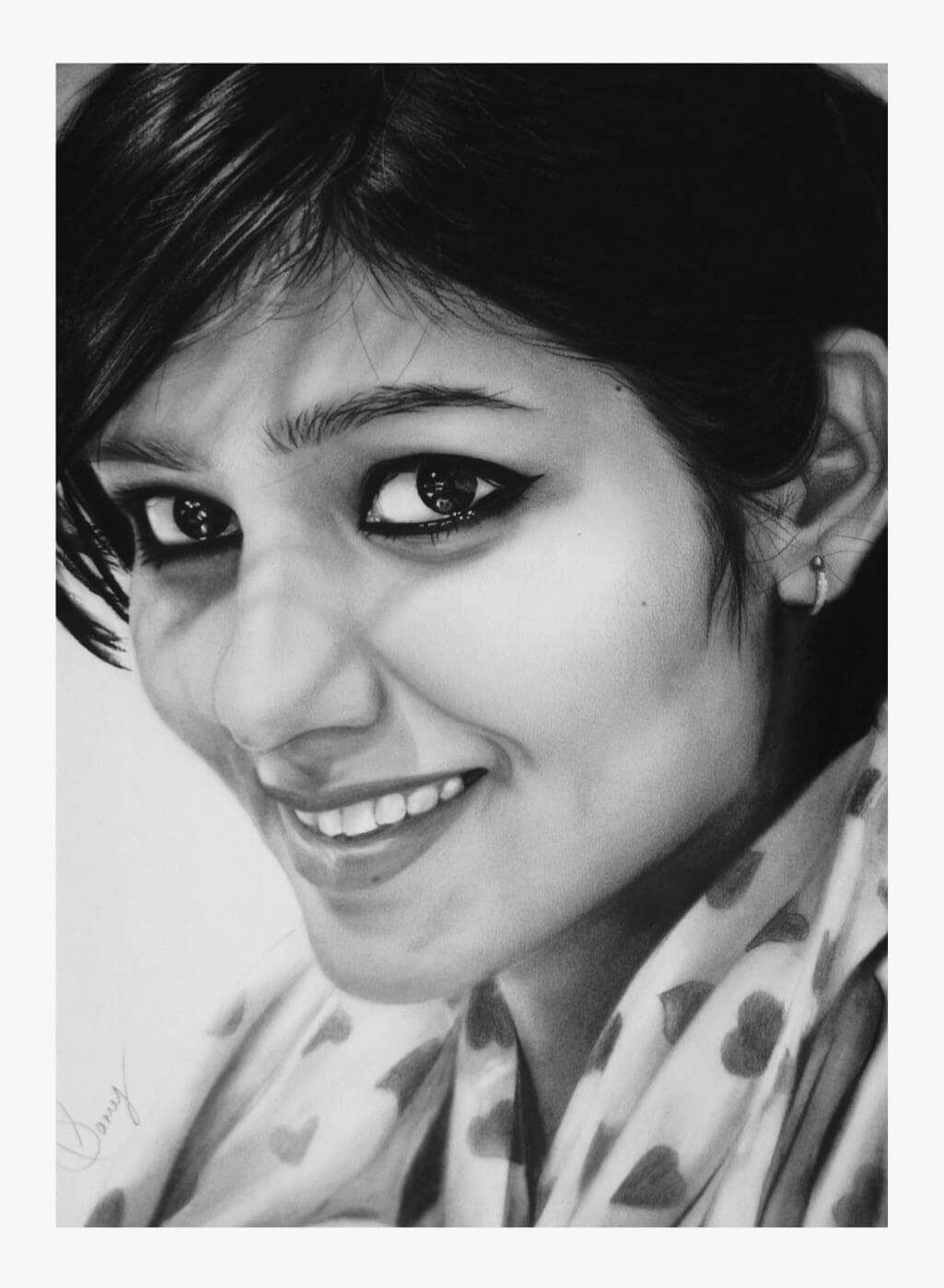 artist samy realistic pencil art lady face