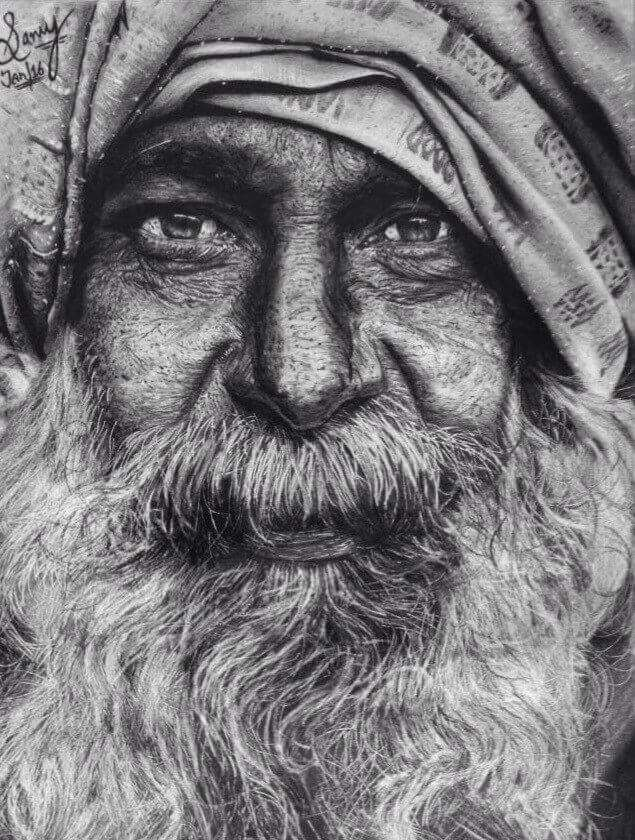 realistic pencil portrait artist's art work