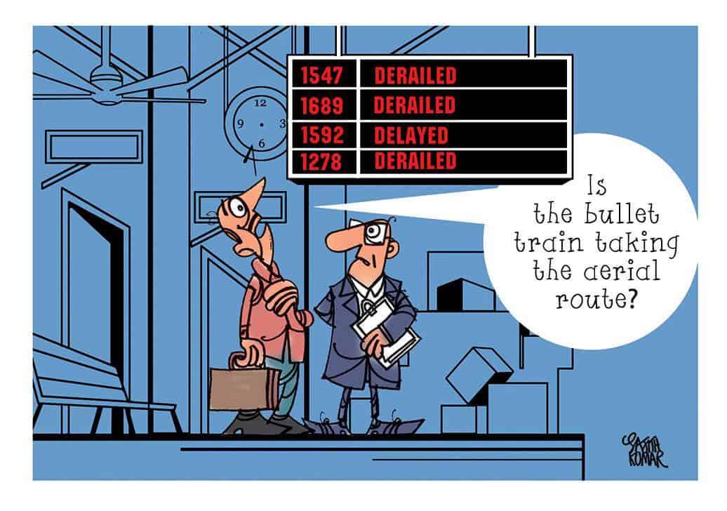 cartoon derail trains india