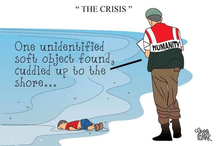 cartoonist syria migrant crisis sajith kumar